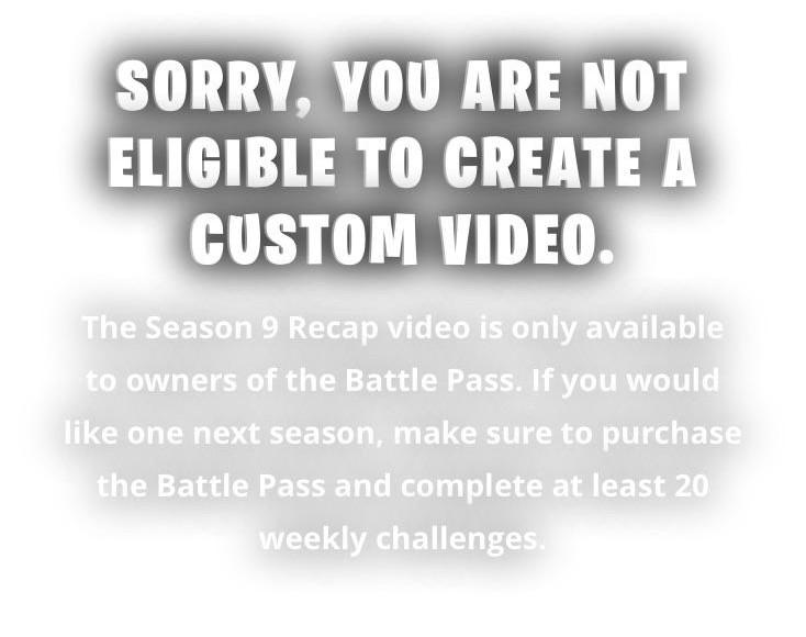 Fortnite Season 9 recap video requirements