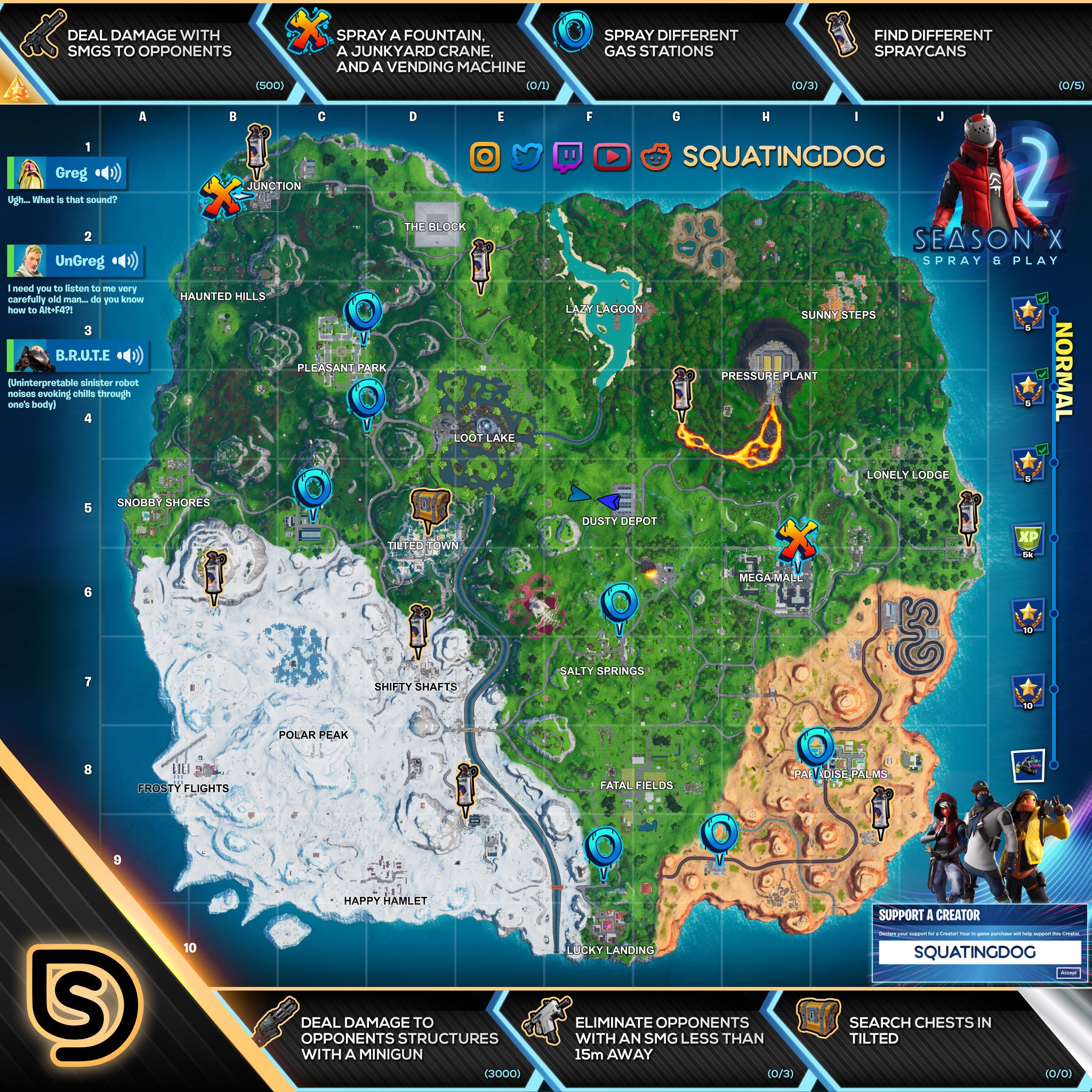Fortnite Season X Week 2 Spray & Pray Normal Challenges Cheat Sheet