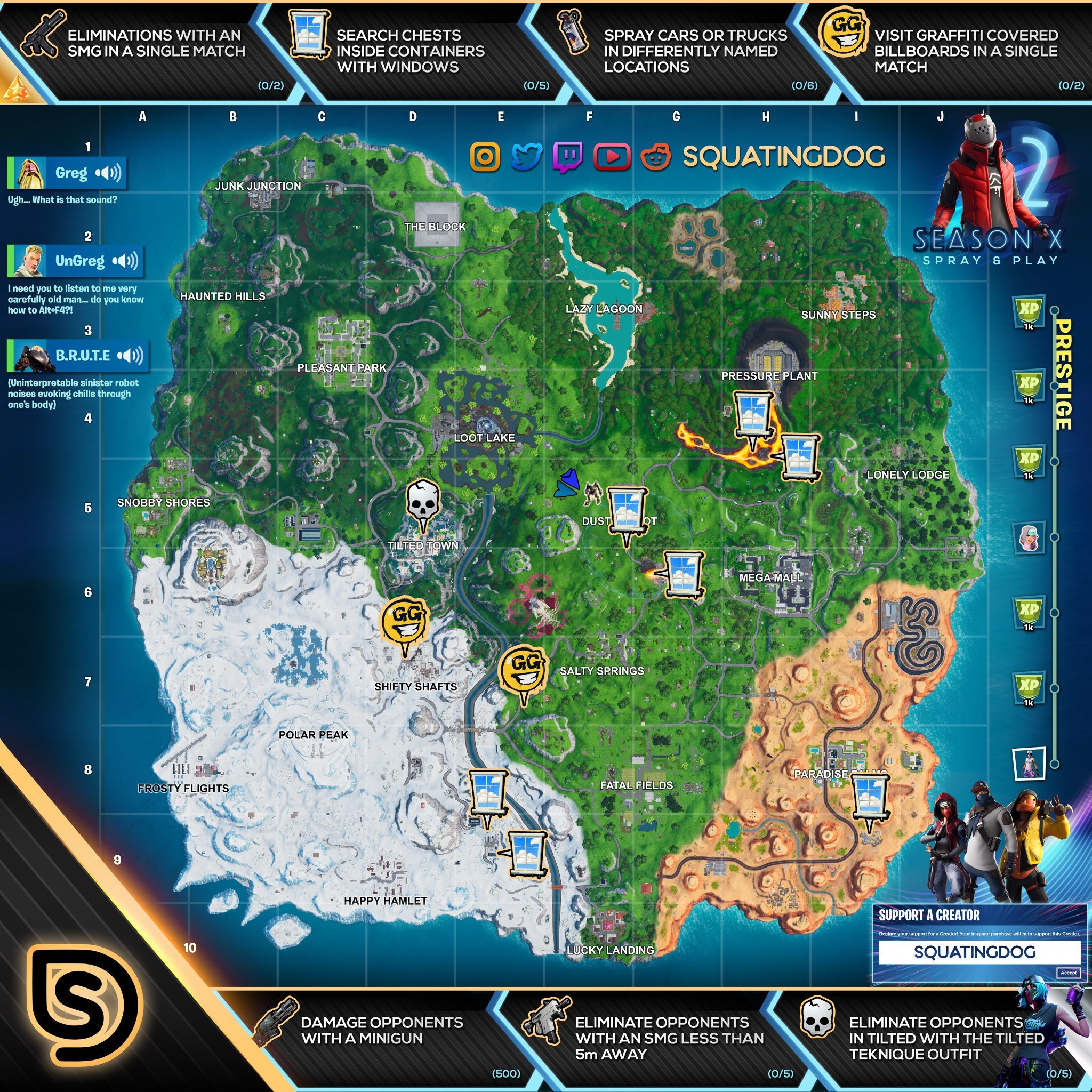 Fortnite Season X Week 2 Spray & Pray Prestige Challenges Cheat Sheet