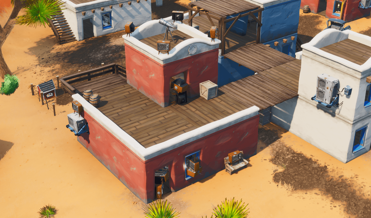 Fortnite Season X (v10.00) Map Changes - House South of Paradise Palms Filled With TVs