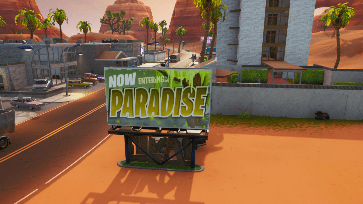 Fortnite Season X (v10.00) Map Changes - Paradise Palms Sign - Moisty Mires Reference