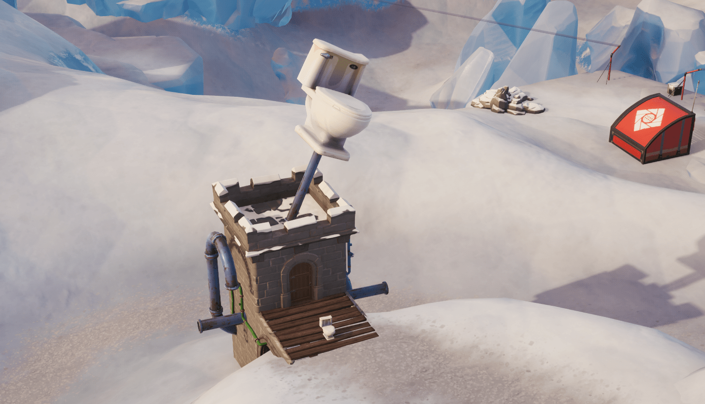 Fortnite Season X (v10.00) Map Changes - Toilet at Polar Peak - Flush Factory Reference