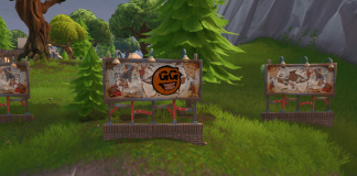 Fortnite Spray & Pray Mission Challenge Visit graffiti covered billboards in a single match Location - East of Shifty Shafts