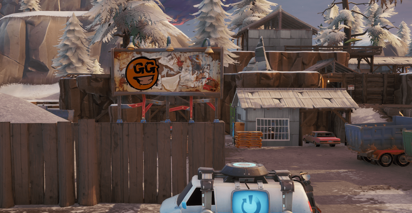 Fortnite Spray & Pray Mission Challenge Visit graffiti covered billboards in a single match Location - Shifty Shafts