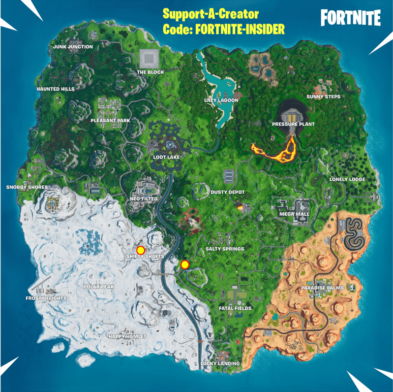 Fortnite Spray & Pray Mission Challenge Visit graffiti covered billboards in a single match Locations