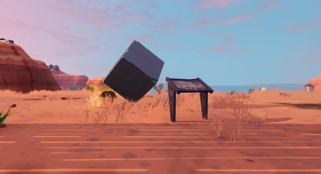 Fortnite memorial to a cube in the desert
