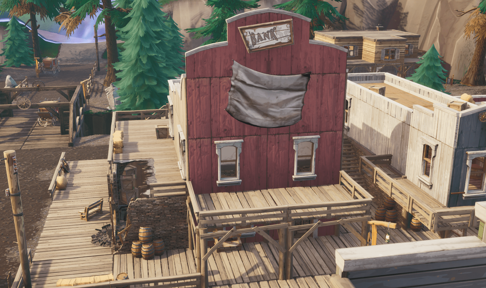 Fortnite v10.00 Content Update Map Changes - Tilted Town Bank