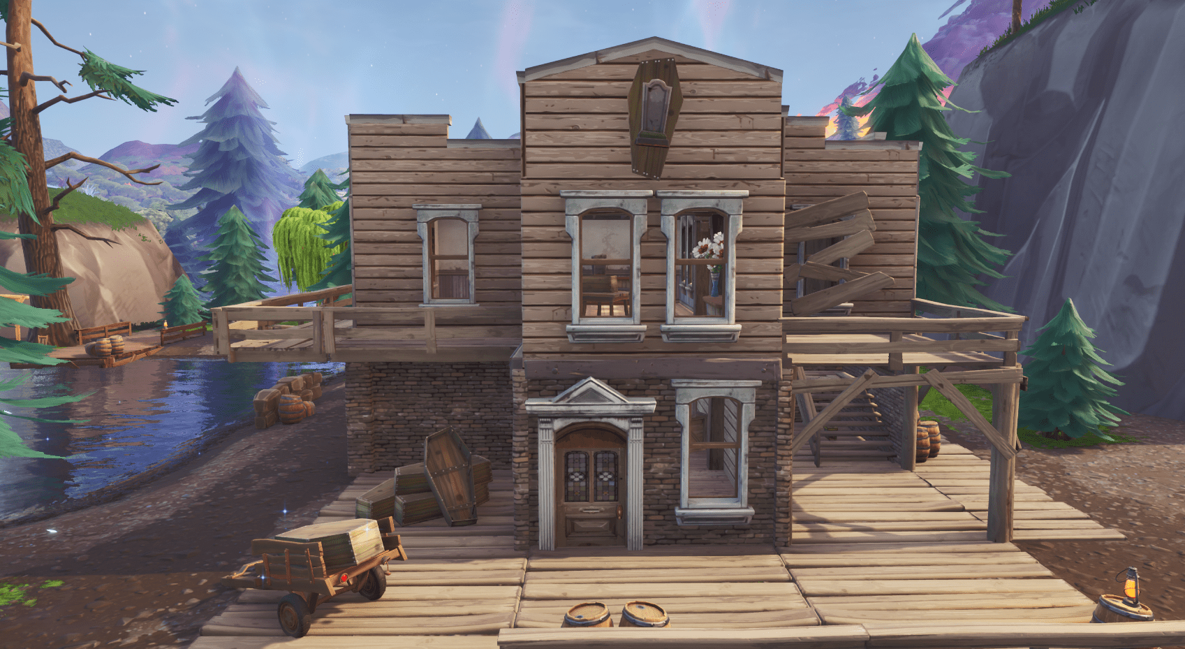 Fortnite v10.00 Content Update Map Changes - Tilted Town Misc Coffin Maker