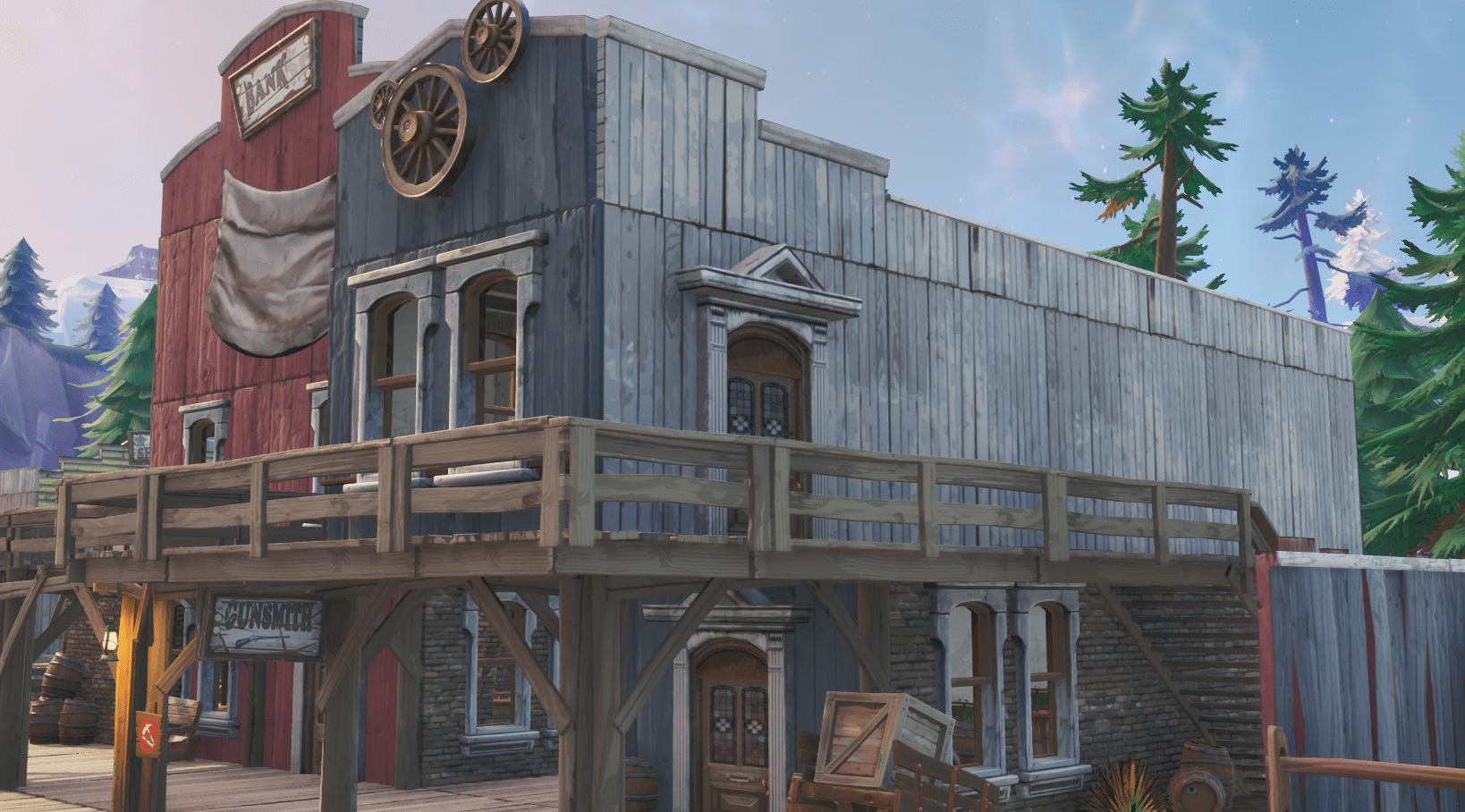 Fortnite v10.00 Content Update Map Changes - Tilted Town Gunsmith