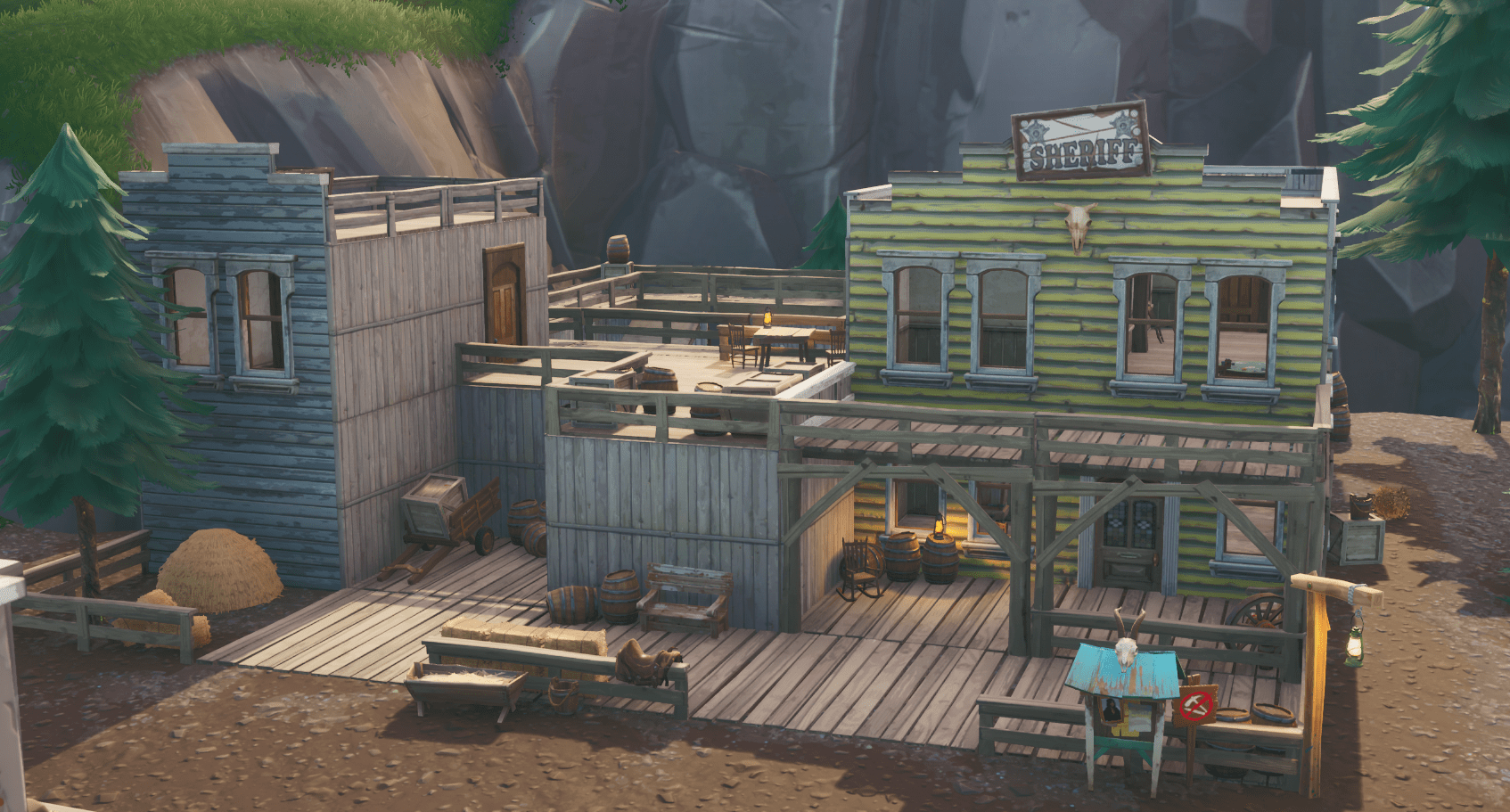 Fortnite v10.00 Content Update Map Changes - Tilted Town Sheriff's Office
