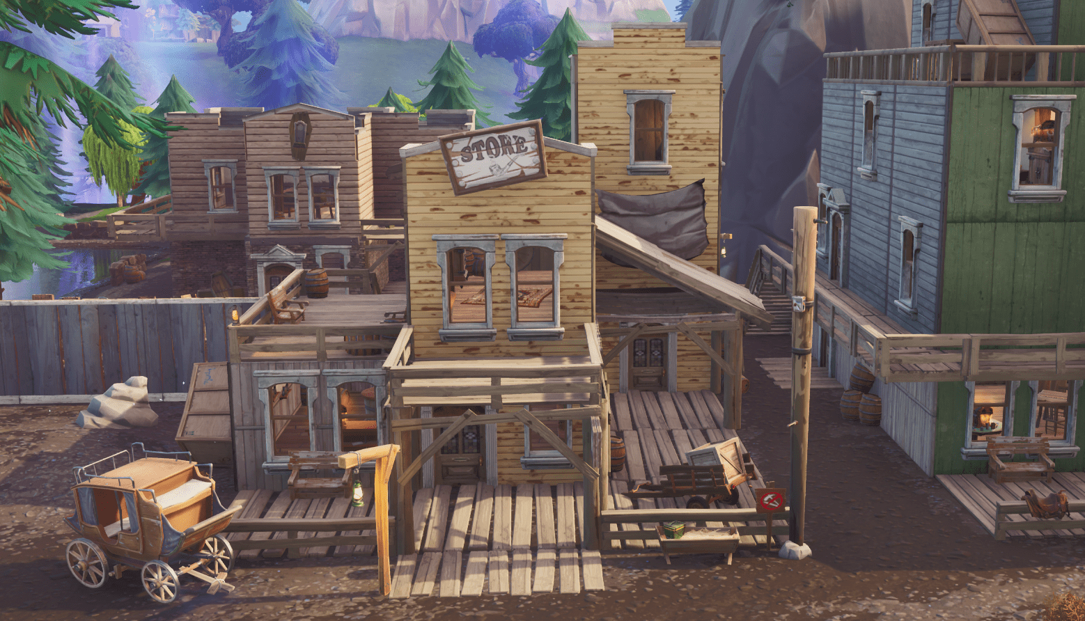Fortnite v10.00 Content Update Map Changes - Tilted Town Store
