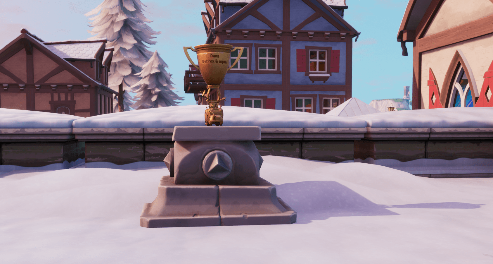 Fortnite v10.10 Map Changes - World Cup Duo Winners Trophy in Happy Hamlet