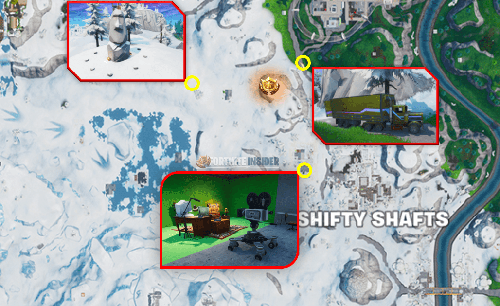 Search Between a Basement Film Camera, a Snowy Stone Head and a Flashy Gold Big Rig Challenge Location