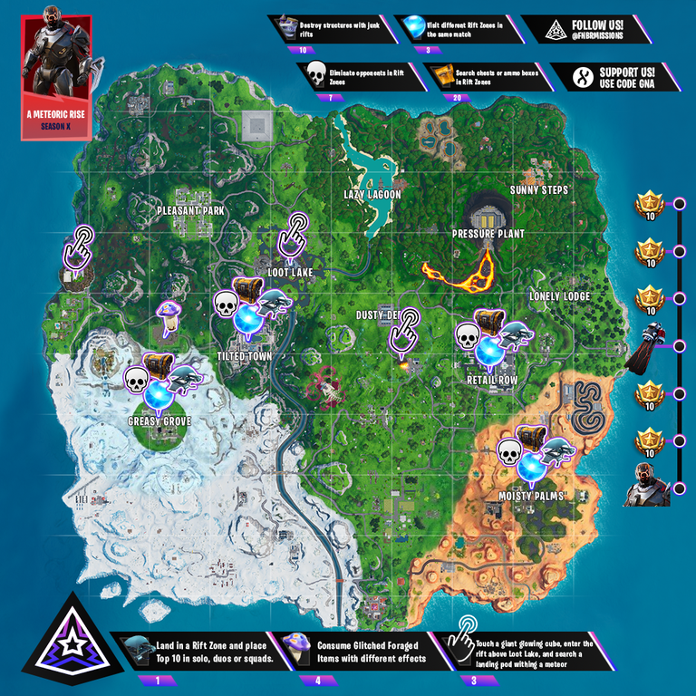 Meteor Rise Mission Fortnite Cheat Sheet Map