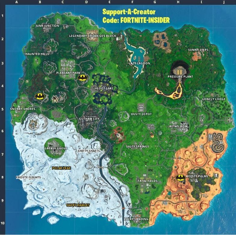 Fortnite Bat Signal Locations Map