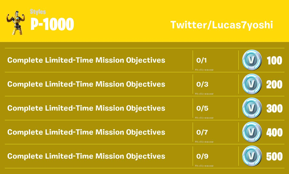 Fortnite Leaked P-1000 Challenges for V-Bucks