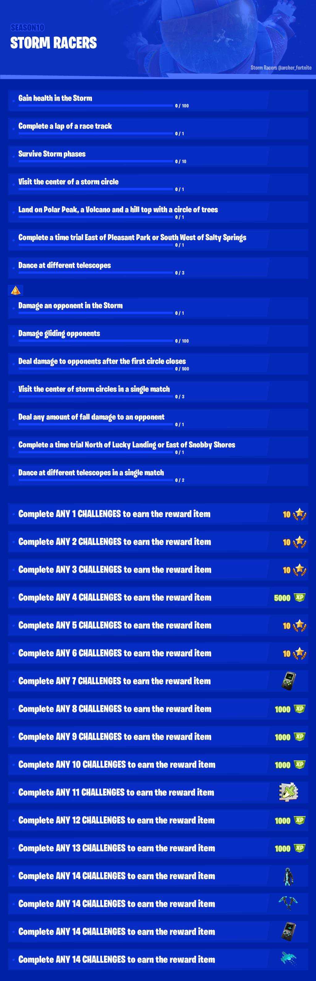 Fortnite Season 10 Week 8 Challenges Leaked - Storm Racers Mission Objectives
