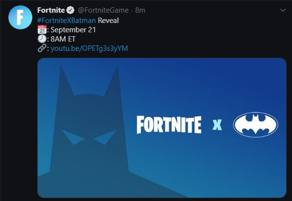 Fortnite X Batman teaser tweet