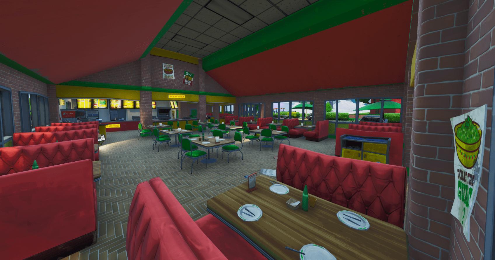 Fortnite v10.30 Map Changes - Greasy Grove Inside Tacos Restaurant