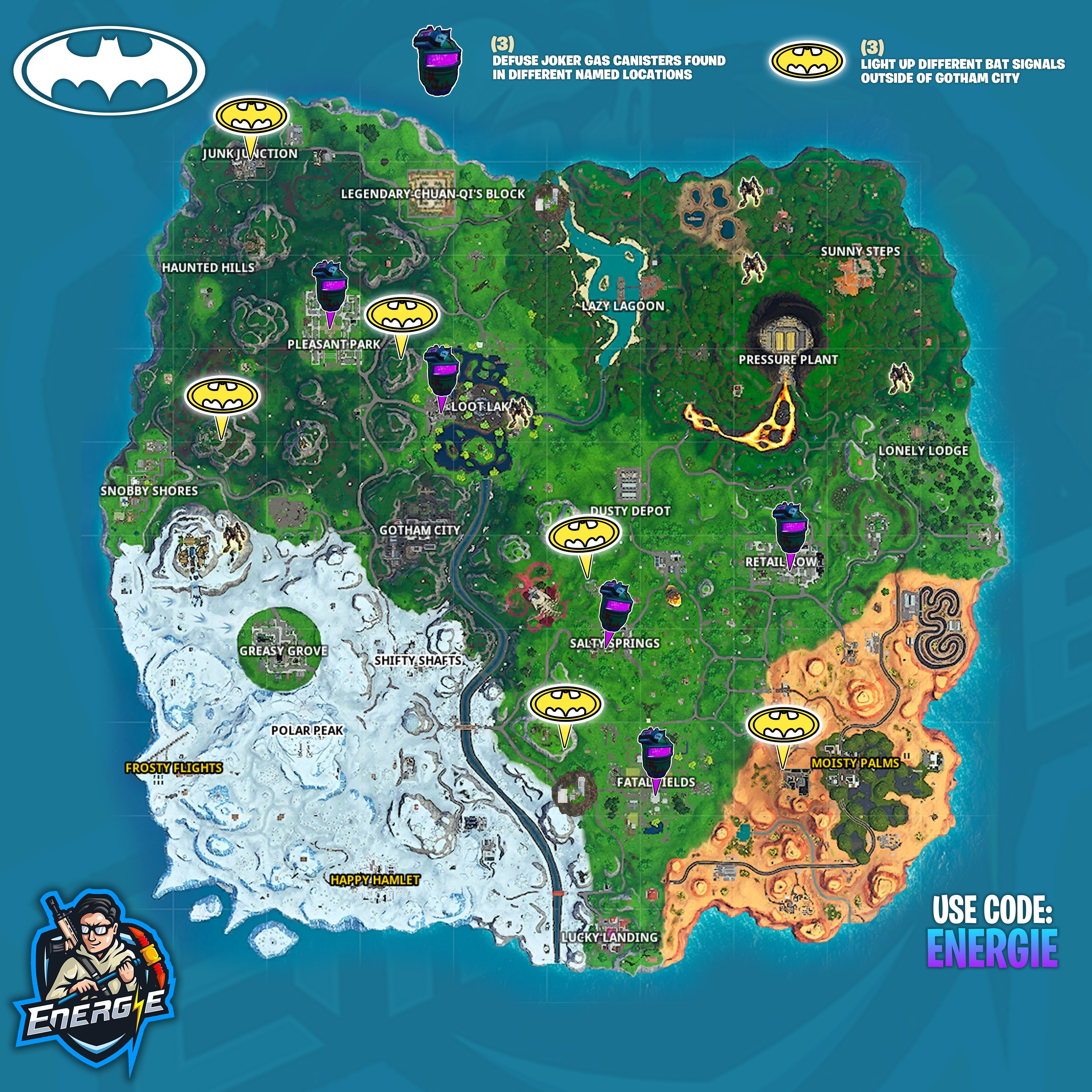 Fortnite Welcome To Gotham City Challenges Cheat Sheet Map