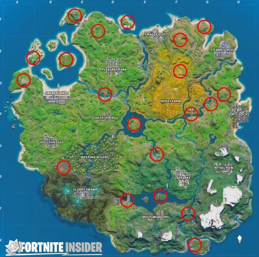 Tutte le posizioni delle mappe dei punti di riferimento di Fortnite: scopri i luoghi di interesse