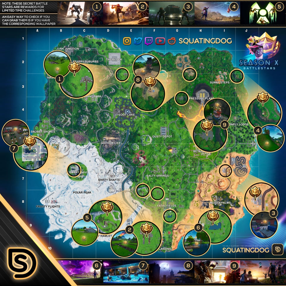 All Fortnite Season 10 Loading Screen Hidden Battle Star Locations