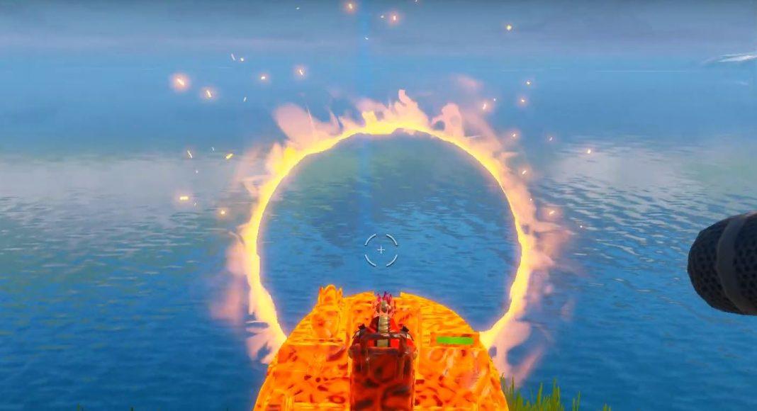 Flaming ring motorboat Fortnite