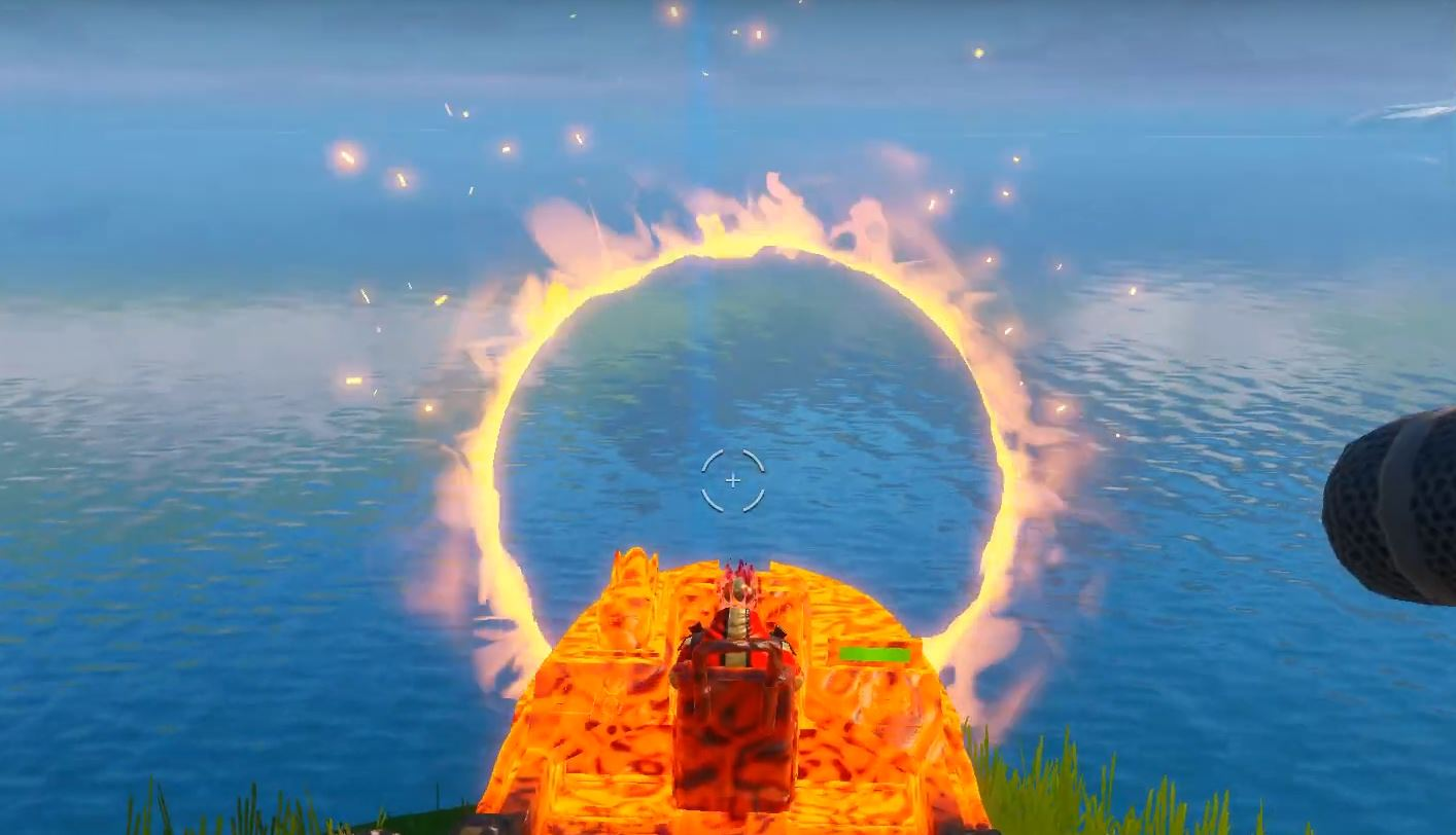 Flaming ring motorboat Fortnite