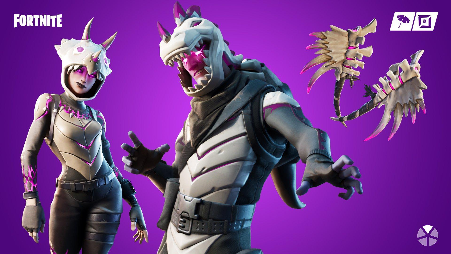 Dark Tricera and Dark Rex Fortnite Skins