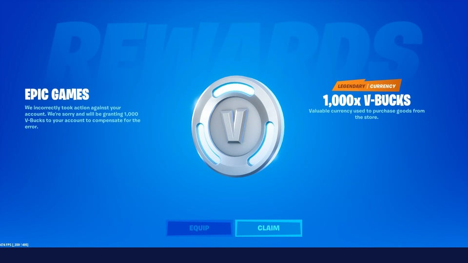 Epic Games無料のFortnite V-Bucks補償