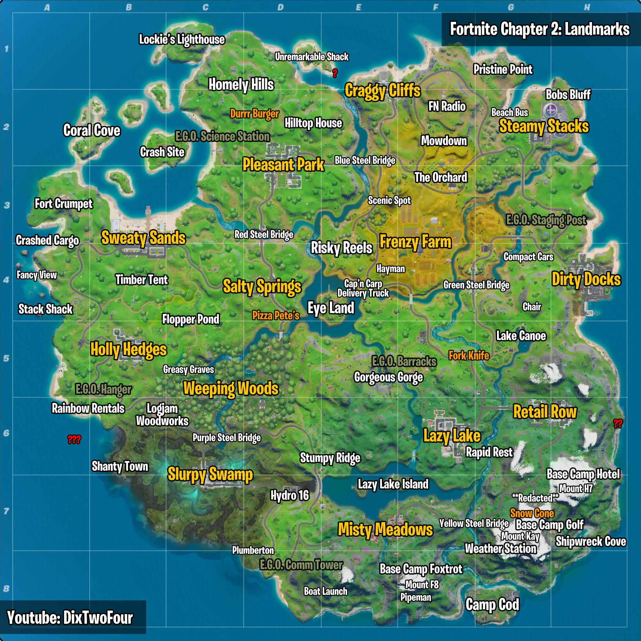 Fortnite Landmarks All Map Locations Visit Landmarks In