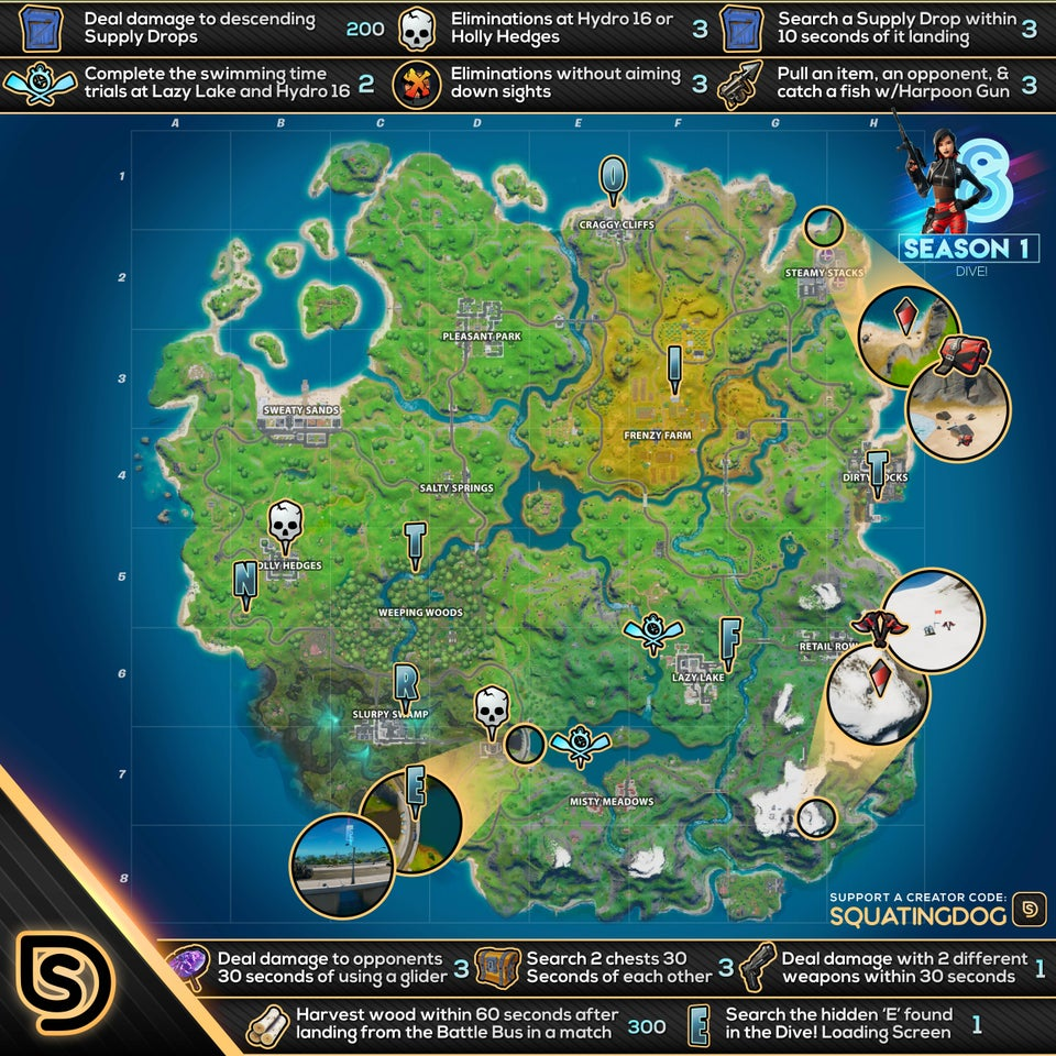 Fortnite Dive Mission Week 8 Challenges Cheat Sheet Map Locations