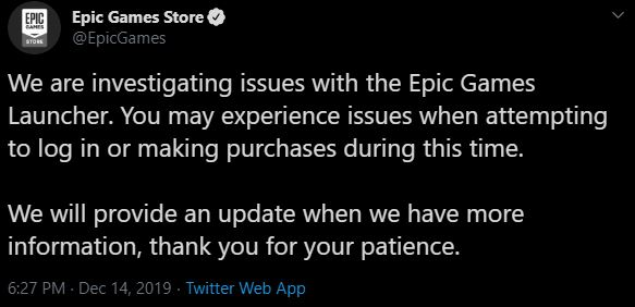 Epic Games Server Issues