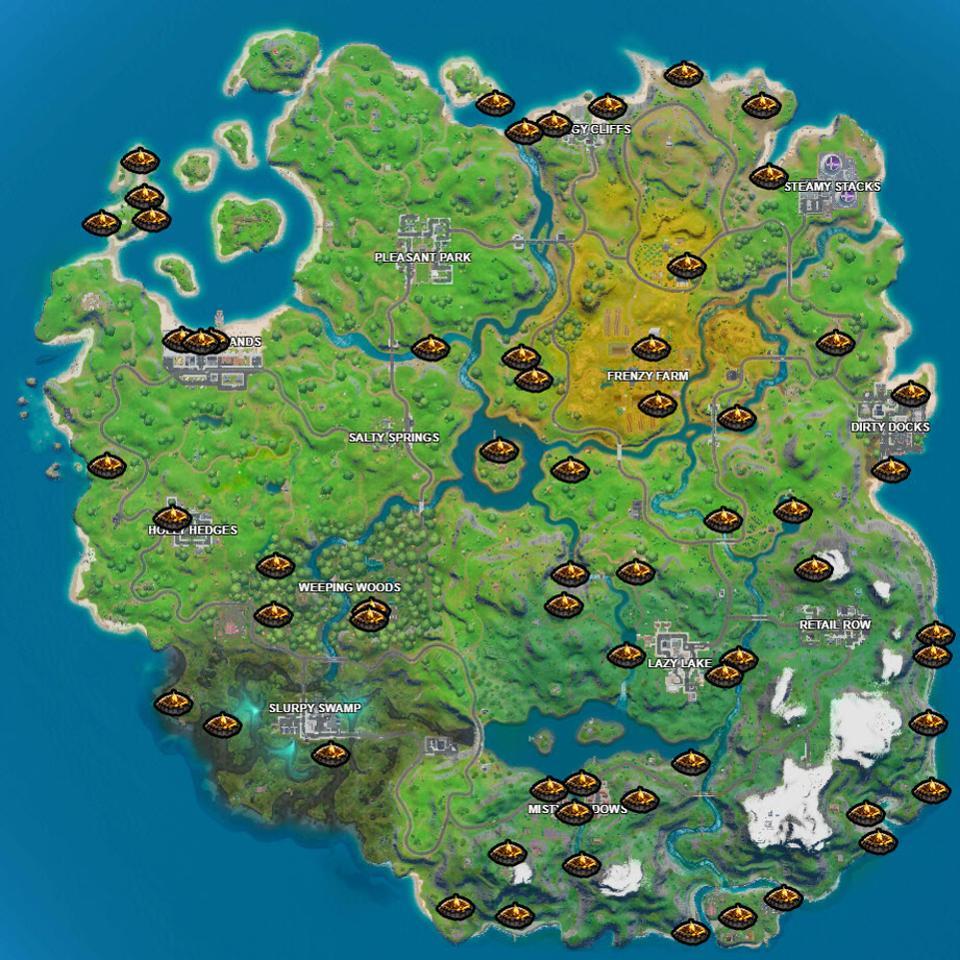 Fortnite Campfire Locations via Lootlake.info