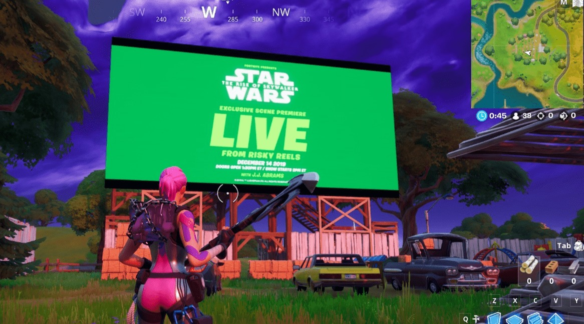 Fortnite Star Wars Screening In Game At Risky Reels