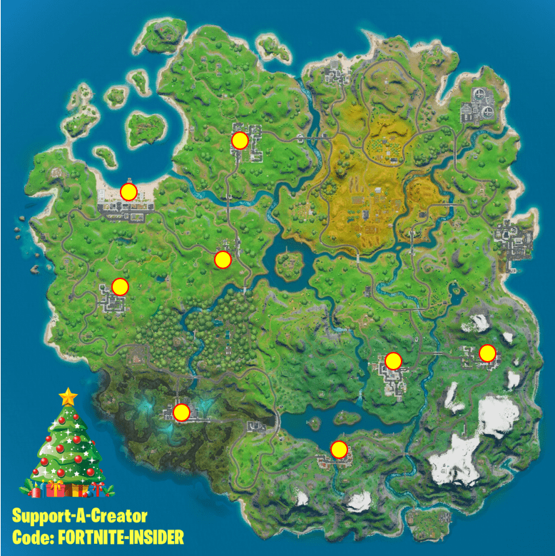 Fortnite Winterfest Day 6 Challenge Map - Dance at Holiday Tree at Different Named Locations