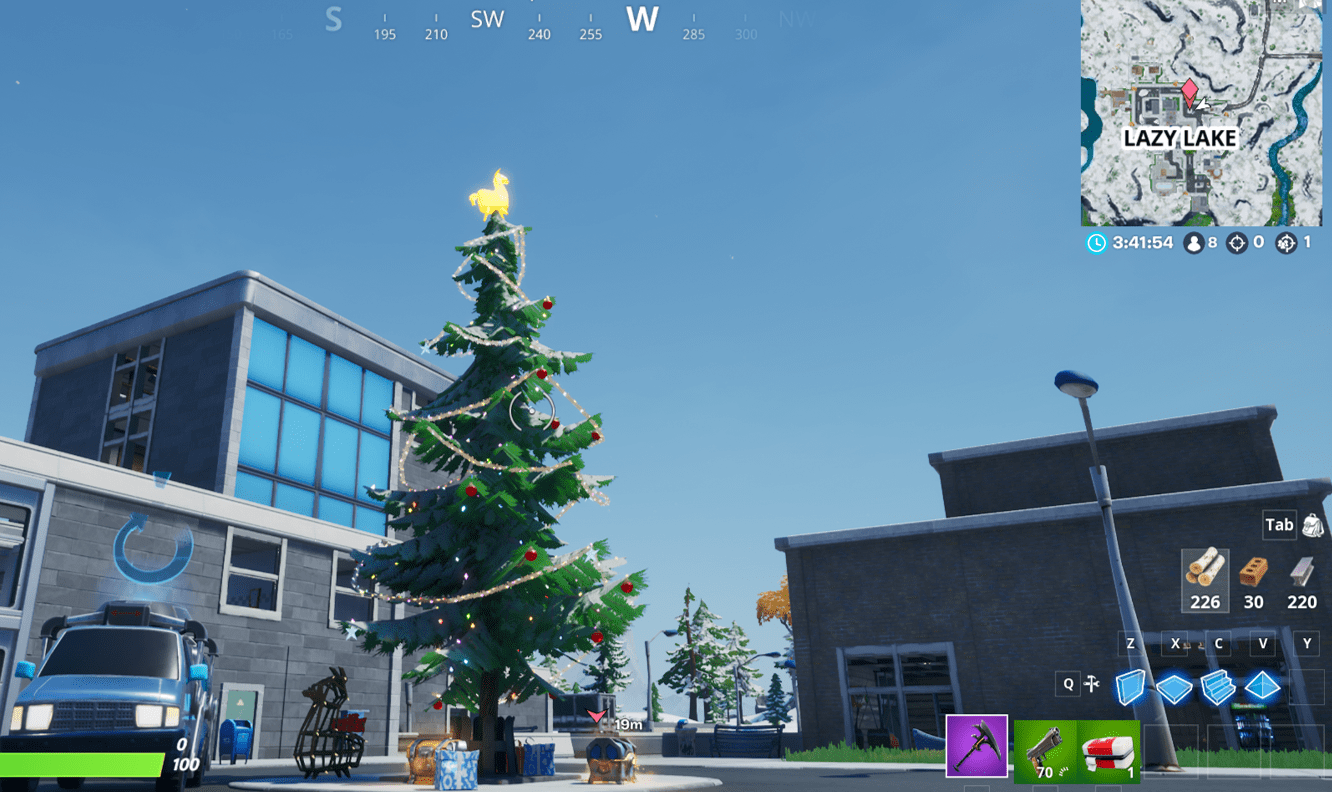 Fortnite Winterfest Holiday Tree Locations - Lazy Lake