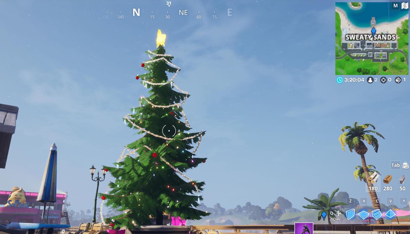 Fortnite Winterfest Holiday Tree Locations - Sweaty Sands