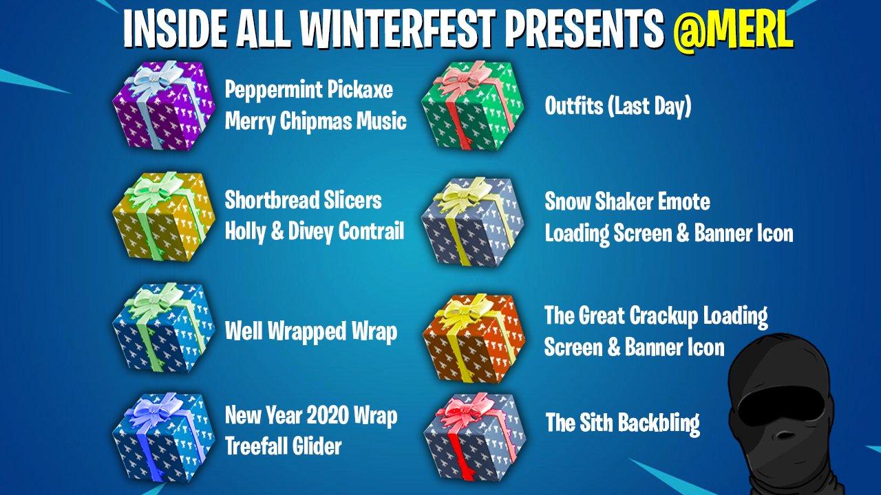 Fortnite Winterfest Presents Cheat Sheet Guide