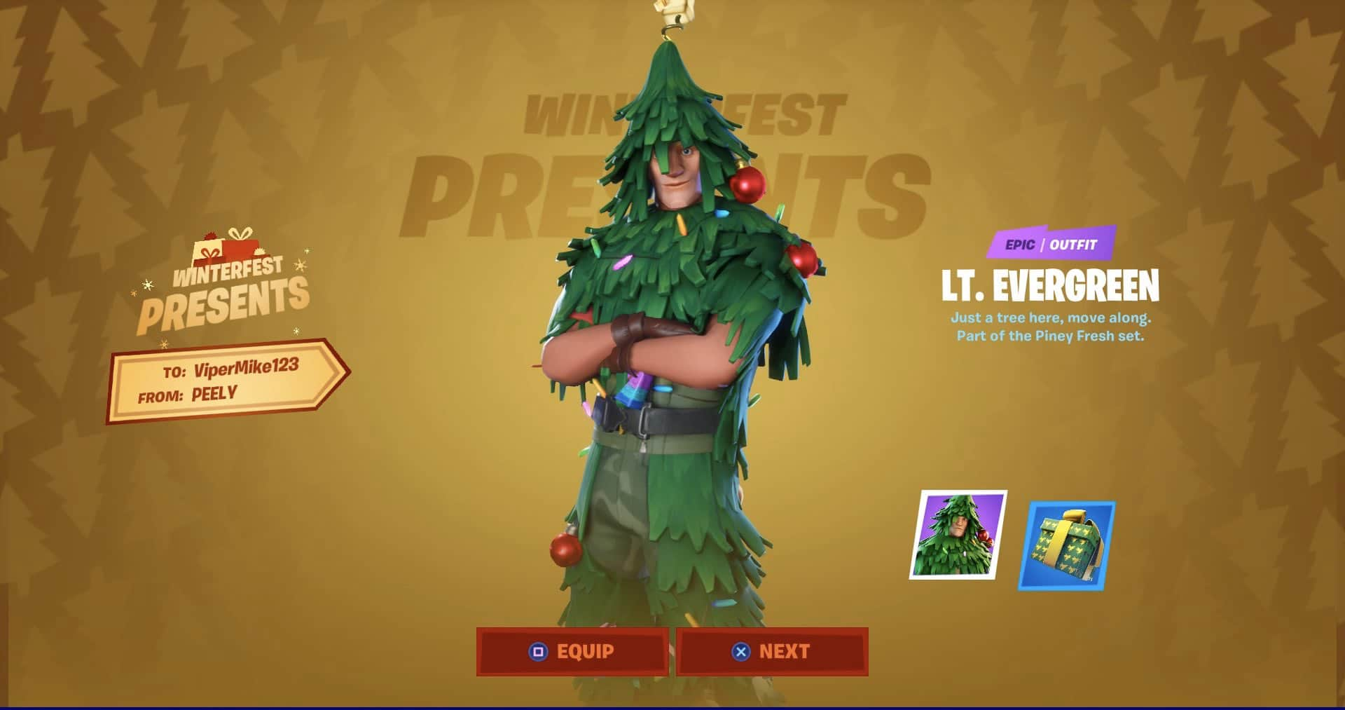 LT. Evergreen Fortnite skin