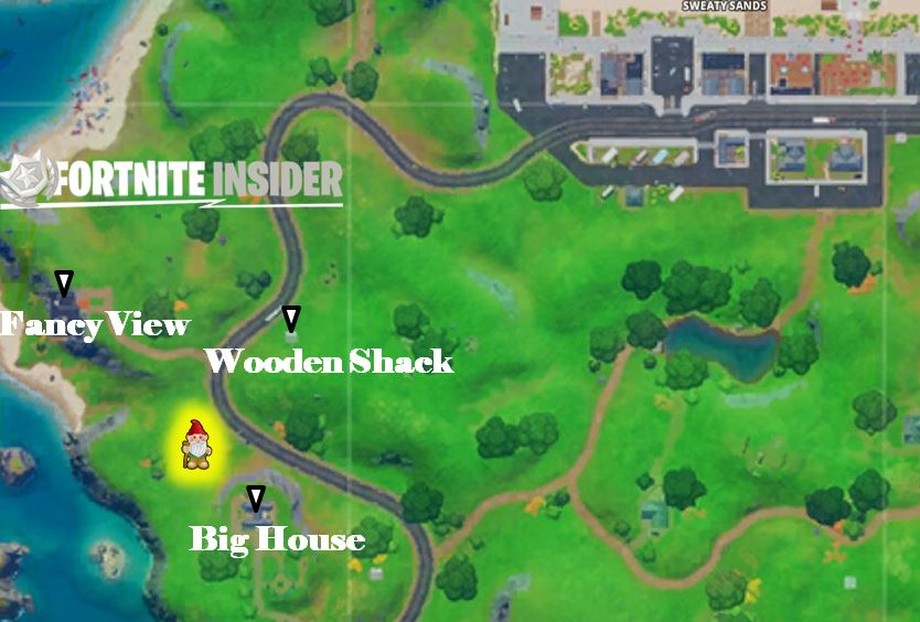Search Hidden Gnome Fortnite Fancy View Wooden Shack Big House Map Location