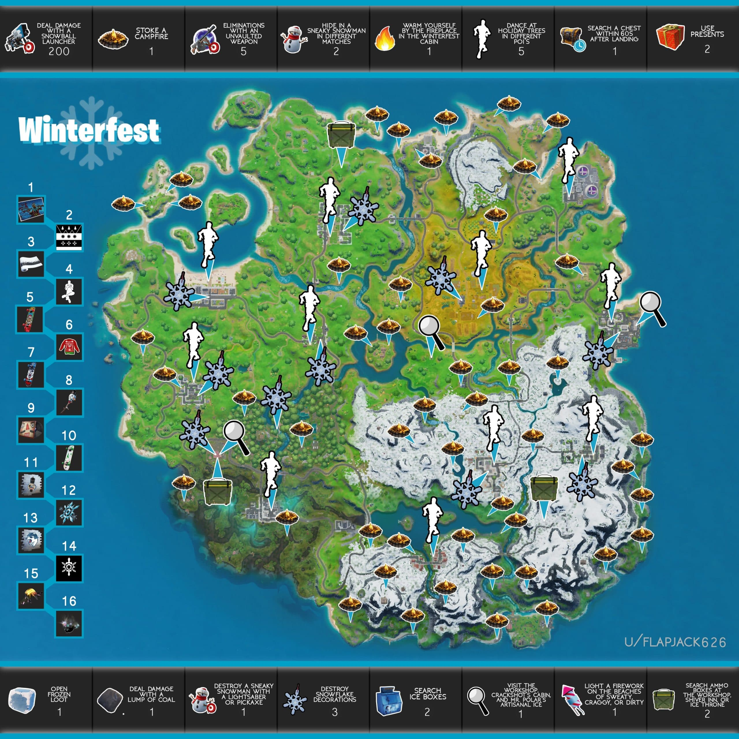 Fortnite Winterfest Challenges Cheat Sheet Locations Map ...