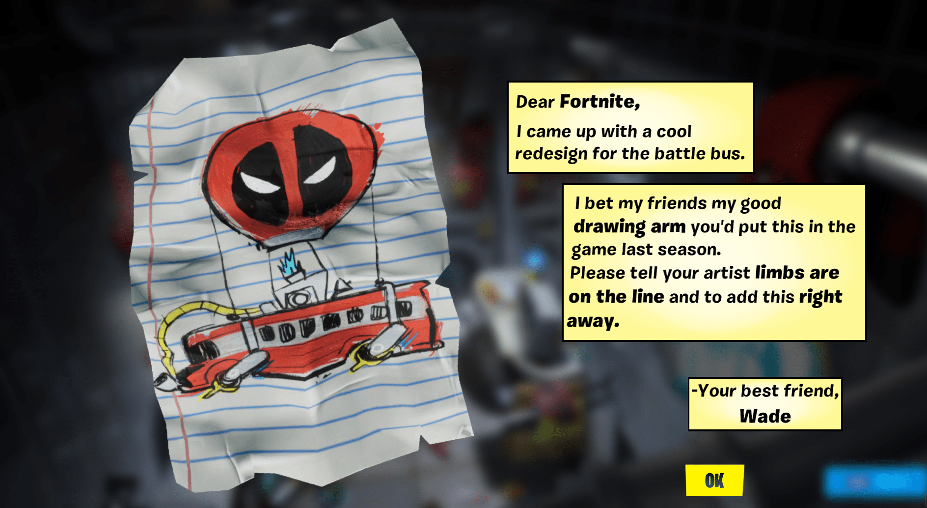 Deadpool's Letter to Epic Games