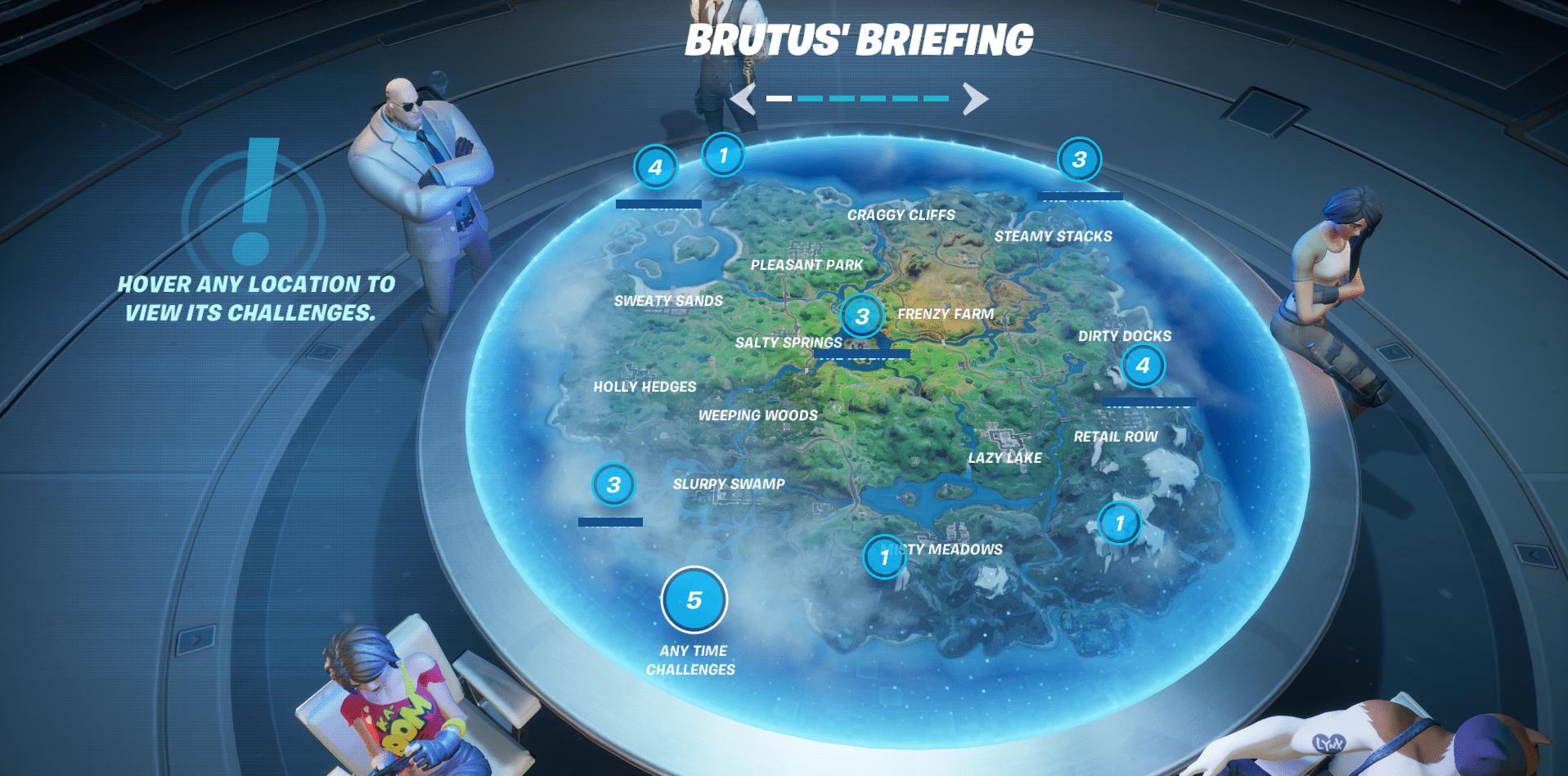 Fortnite Chapter 2, Season 2 Challenges Week 1 - Brutus' Briefing
