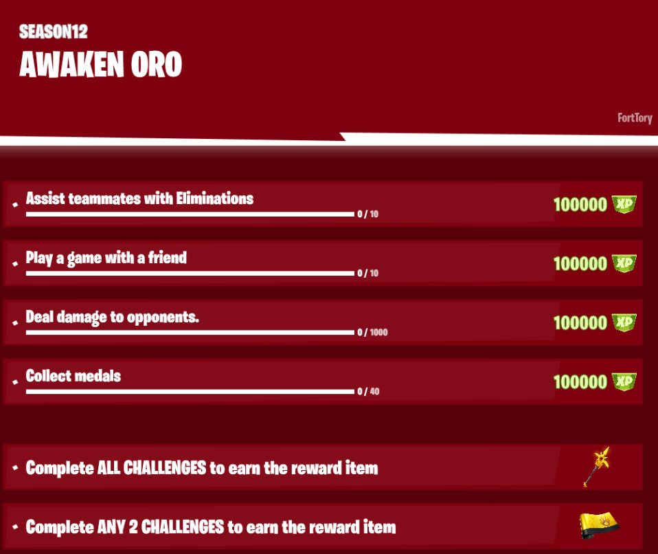 Fortnite Awaken Oro Challenges & Rewards