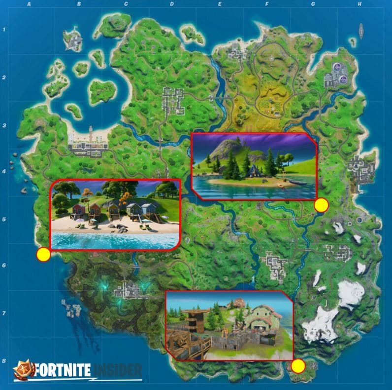 Fortnite Map Locations for Lake Canoe, Camp Cod, and Rainbow Rentals