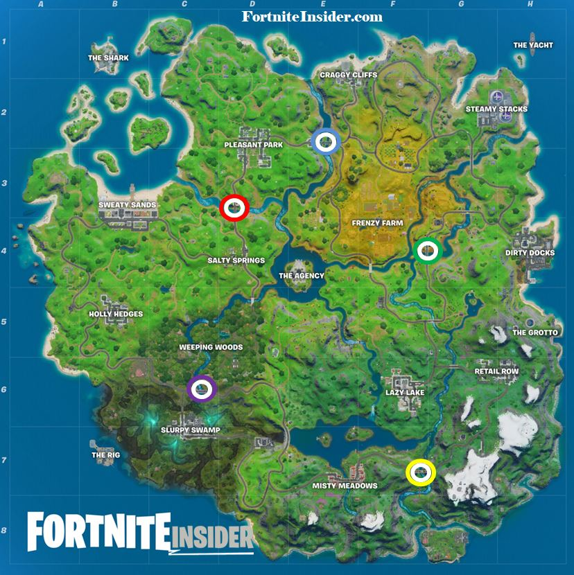 Fortnite Red Yellow Green Blue Purple Steel Bridges Locations Map