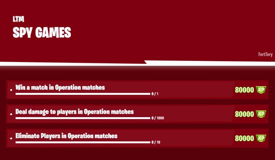Fortnite Spy Games Challenges Leaked Via @FortTory