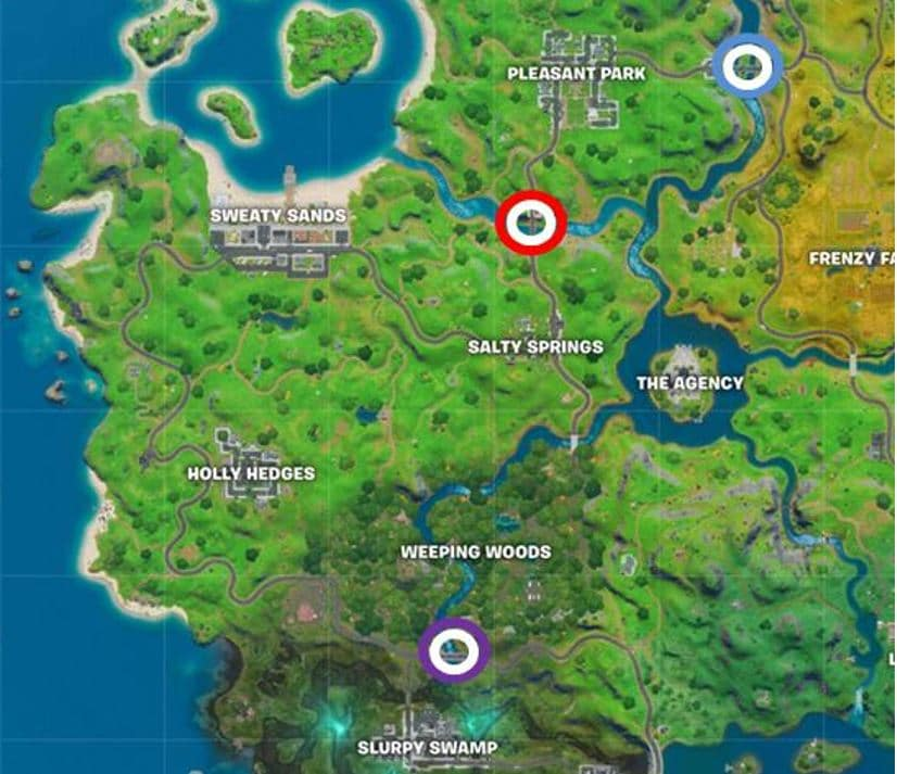 Fortnite Purple, Red and Blue Steel Bridges Map Location