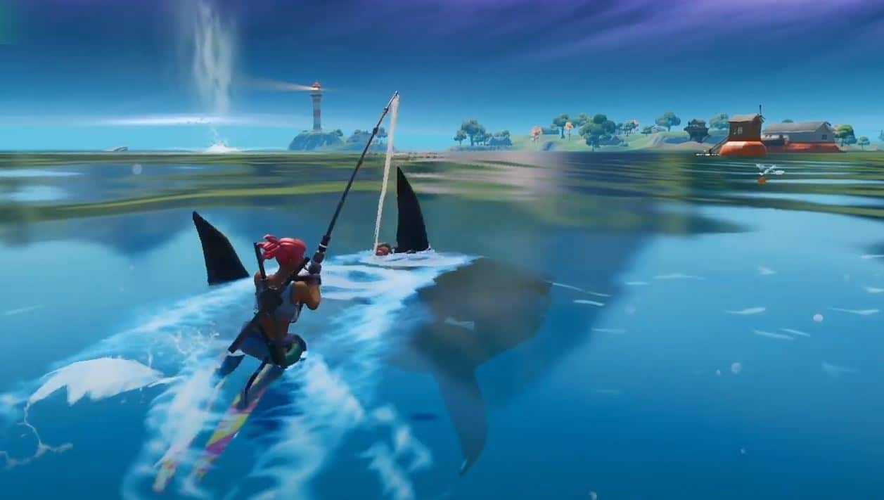 Fortnite Ride a Shark with a Fishing Pole Aquaman Challenge